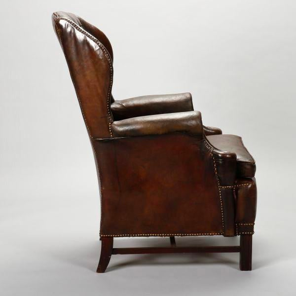 Fine English Brown Leather Tufted Library Wing Chair Spiritservingveterans Wood Chair Design Ideas Spiritservingveteransorg