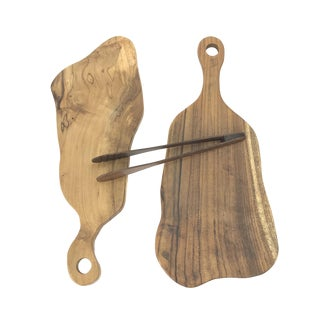 Hand-Carved Mango-Wood Cheese/Bread Boards With Tongs - 3 Piece Set For Sale
