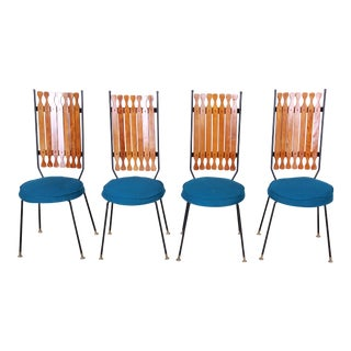 Arthur Umanoff for Shaver-Howard Mid-Century Modern High Back Dining Chairs, Set of Four For Sale