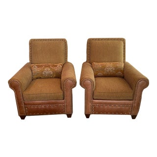 Set of 2 Drexel Heritage Club Chairs - Leather and Upholstery For Sale