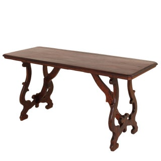 19th Century Italian Walnut Table With Lyre-Shaped Legs For Sale