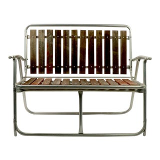 1960s Mid Century Aluminum and Wood Folding Patio Garden Bench For Sale