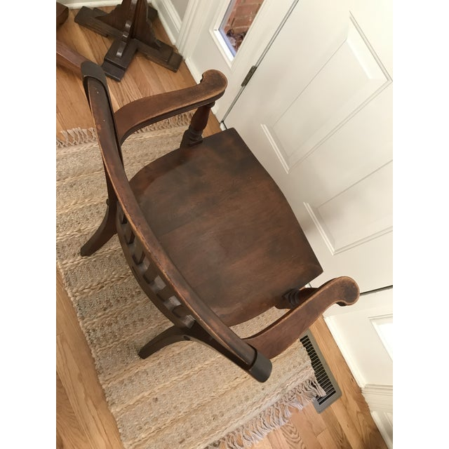 Early 20th Century Antique Ivan Allen Marshall Co Atlanta Wood Library Office Accent Chair For Sale - Image 5 of 12