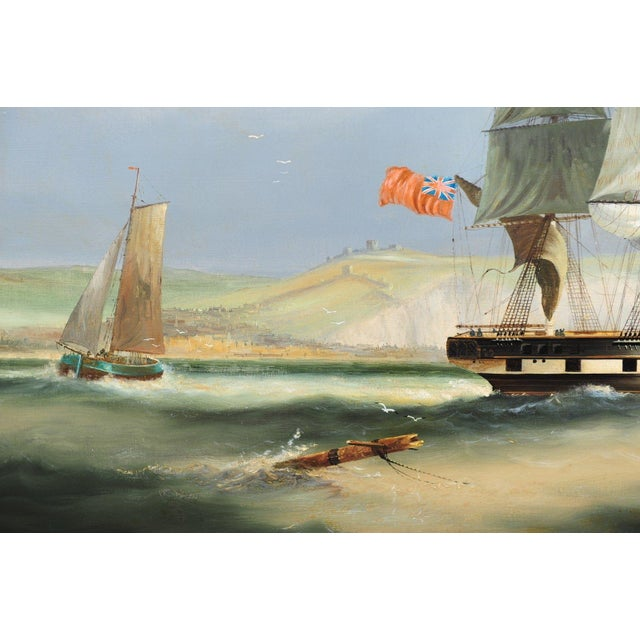 English Sail Boat - 19th Century Oil Painting - Image 7 of 12