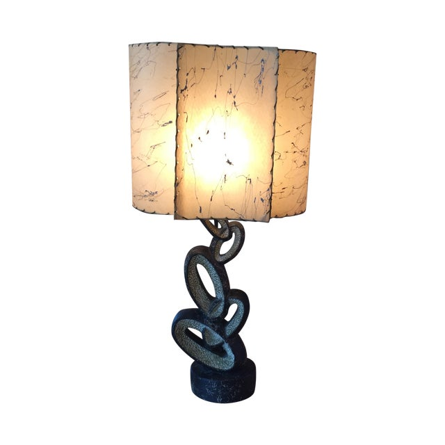 Mid Century Lamp with Fiberglass Shade - Image 1 of 9