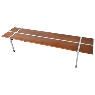 1960s Scandinavian Model Selig Walnut and Aluminum Coffee Table