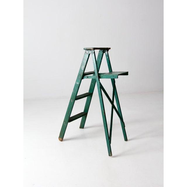 Metal Vintage Green Wooden Ladder For Sale - Image 7 of 10
