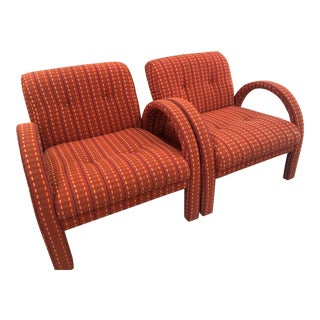 Vintage Hollywood Regency Arched Armchairs Arm Chairs -A Pair For Sale