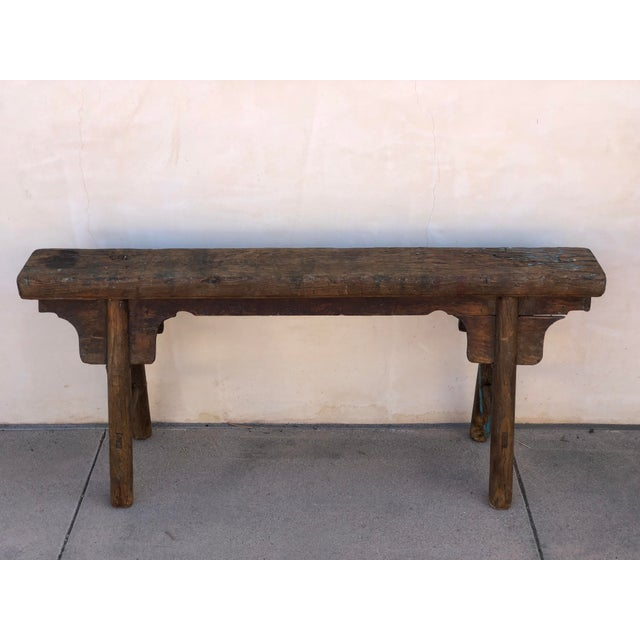 Antique Shandong Elm Wood Bench For Sale In Los Angeles - Image 6 of 6