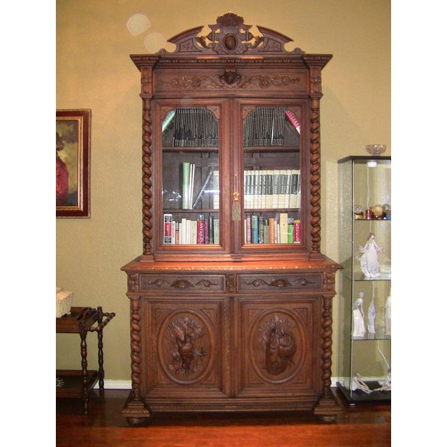 Early 19th Century French Provincial Highly Carved Oak Bookcase For Sale - Image 4 of 13