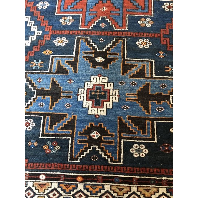 Late 19th Century Antique Area Rug in Blues and Cranberry For Sale - Image 5 of 10