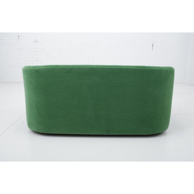 Post Modern Barrel Back Settee in Green Mohair For Sale In Chicago - Image 6 of 9