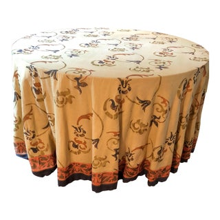 "Custom Made 54"" Round Dining Table With Custom Table Cloth"