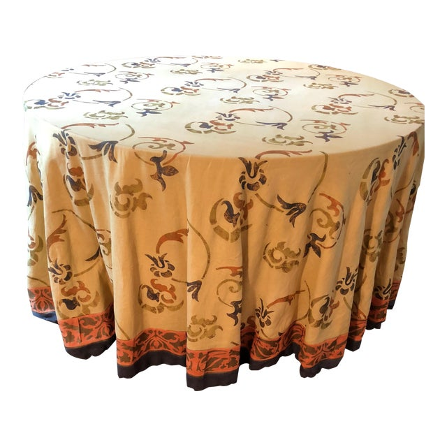 """Custom Made 54"""" Round Dining Table With Custom Table Cloth For Sale"""