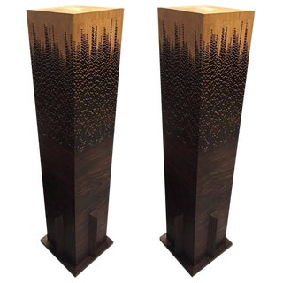 Mid-Century Wood Pedestals - a Pair For Sale