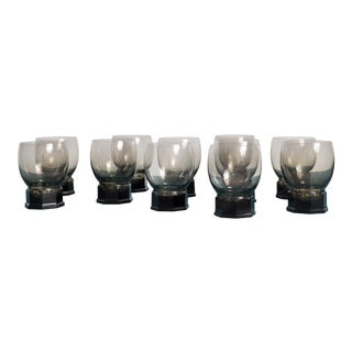 Twelve Copier Leerdam Goblets, Holland 1930s For Sale