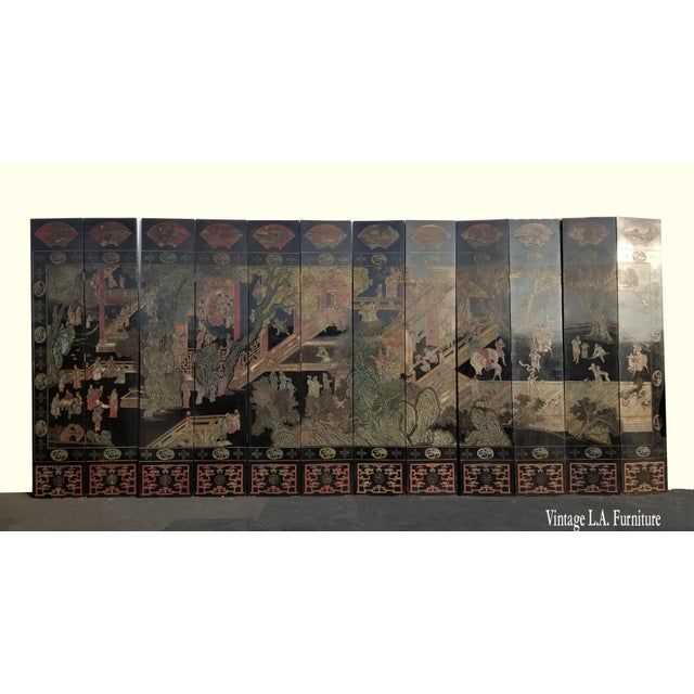 20th Century Chinese Chinoiserie Black Coromandel 12 Panel Screen Two Sided ~ 1st Side Gorgeous, Gorgeous and Gorgeous!!...
