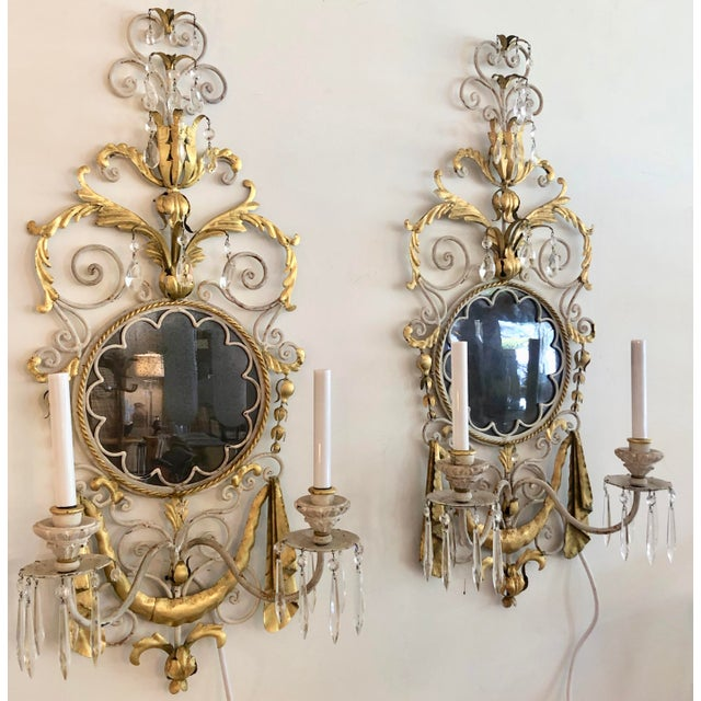Baroque Large Pair Mid Century Italian Sconces For Sale - Image 3 of 13