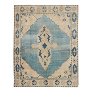 Vintage Mid-Century Turkish Oushak Rug - 10′ × 12′ For Sale