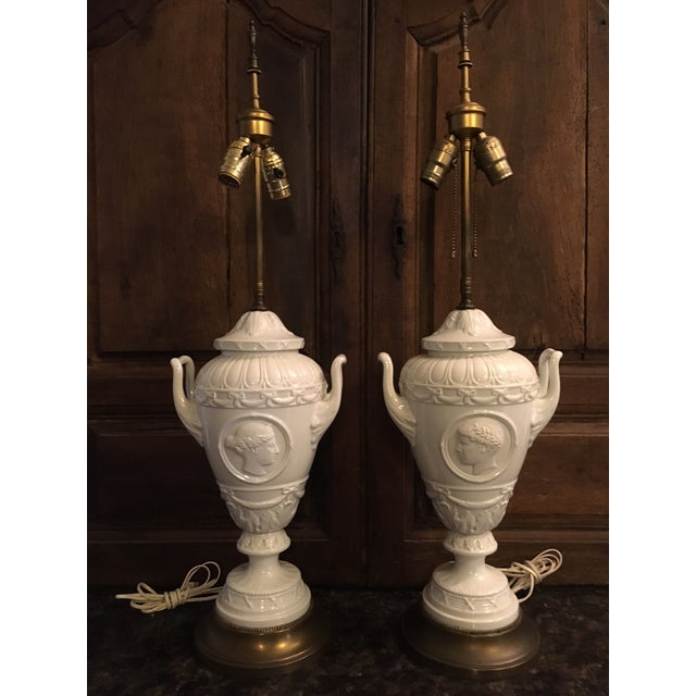 20th Century Wedgwood Style Porcelain Lamps Cameo Medallion French Empire - a Pair For Sale - Image 13 of 13