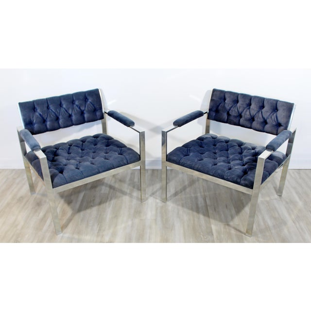 For your consideration are a phenomenally chic pair of Harvey Probber chairs and ottoman, with tufted blue velvet on...