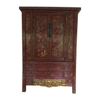 Antique Red Chinese Armoire For Sale