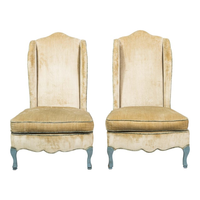 French Provincial Style Winged Slipper Chairs - A Pair - Image 1 of 8