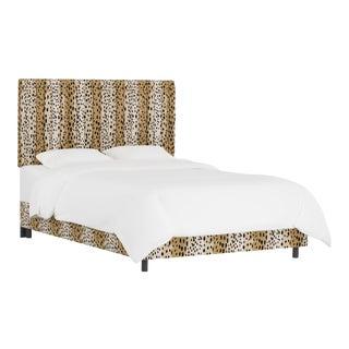 Queen Bed , Linen Leopard Caramel For Sale