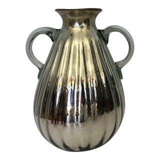 1970s Vintage Mid-Century Mercury Glass Fluted 2-Handled Handblown Vessel For Sale