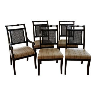 Late 1960s Vintage Beacon Hill Hollywood Black Lacquer Dining Chairs - Set of 6 For Sale