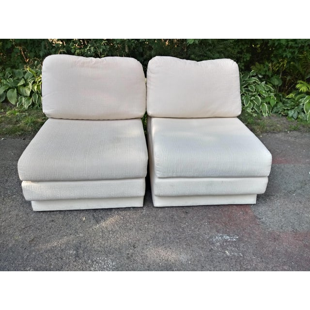 Textile 1980s Vintage Thayer Coggin Slipper Chairs - a Pair For Sale - Image 7 of 7