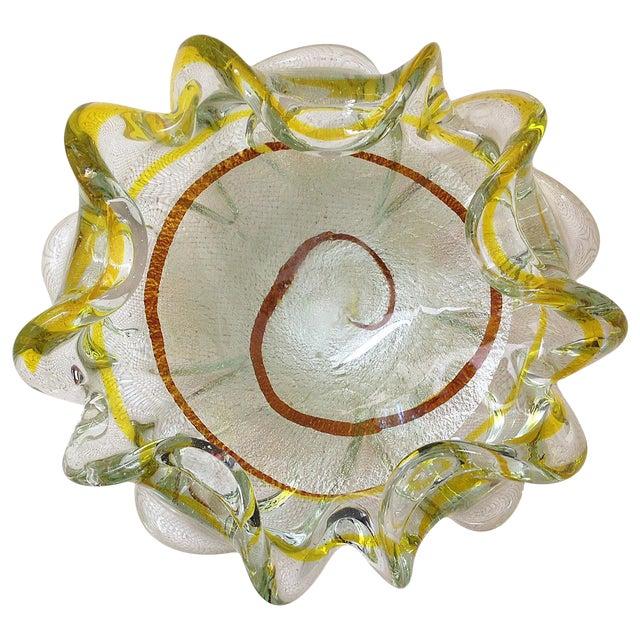 Italian Murano Silver Foil and Citrine Stripe Glass Bowl For Sale