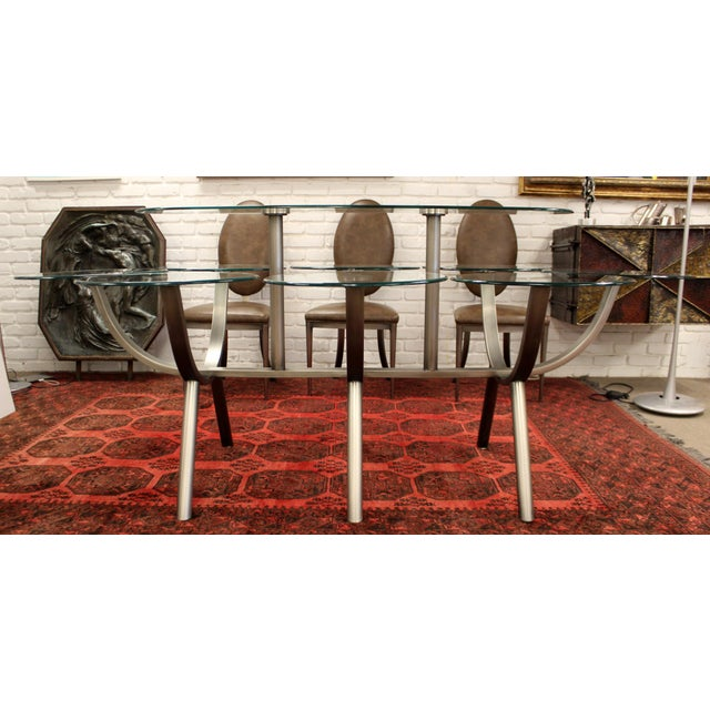 Metal Contemporary Modern Glass & Steel Banquet Dining Table Dia 1980s Circle of Life For Sale - Image 7 of 12