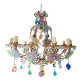 Image of 1930s Italian 13 Light Murano Flowers Fruit and Drops Chandelier For Sale