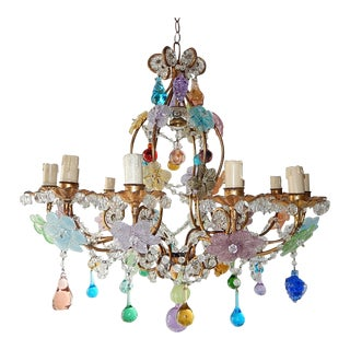 1930s Italian 13 Light Murano Flowers Fruit and Drops Chandelier For Sale