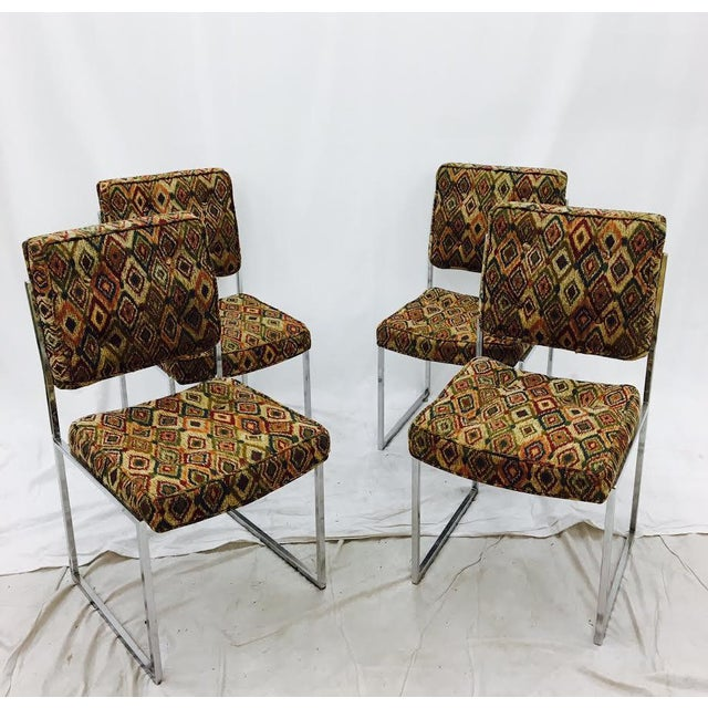 Yellow Vintage Mid-Century Modern Chrome Frame Chairs - Set of 4 For Sale - Image 8 of 11