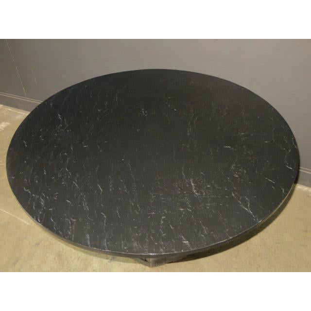 Animal Skin Mid Century Modern Faux Slate Dining Table With Leather Banding For Sale - Image 7 of 13