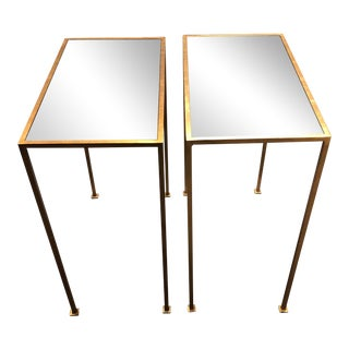 Golf Leaf Mirrored Top Side Tables - a Pair