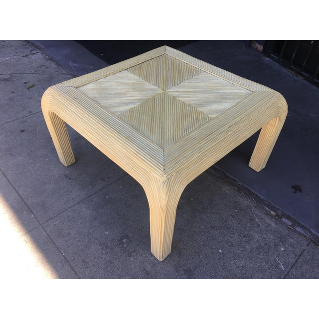 Asian Gabriela Crespi Style Pencil Rattan Square Coffee Table For Sale - Image 3 of 9