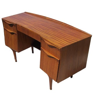 Midcentury Striped Mahogany Desk For Sale