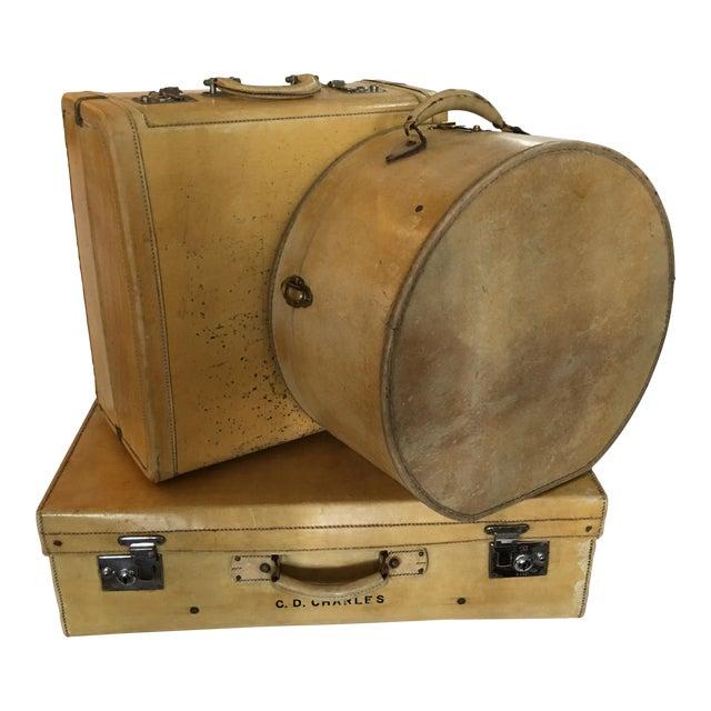 Vintage English Vellum Suitcases & Hat Box - Set of 3 - Image 1 of 11