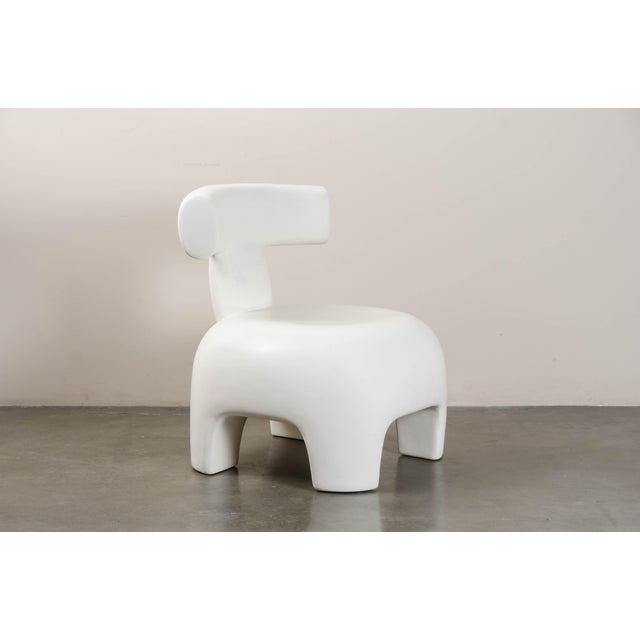 2010s Back Rest Chair - Cream Lacquer by Robert Kuo, Hand Repoussé, Limited Edition For Sale - Image 5 of 6