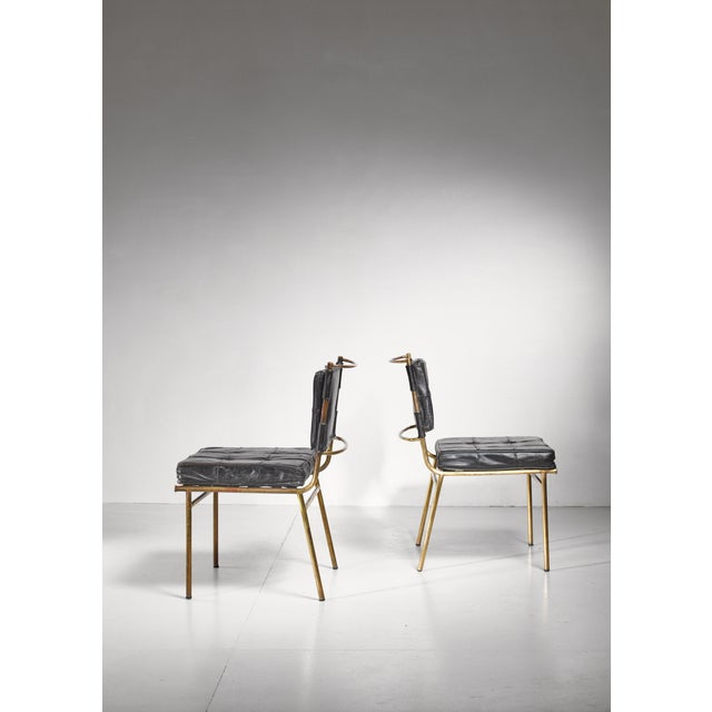 Mathieu Matégot Mathieu Mategot Rare Pair of Brass and Leather Chairs, France For Sale - Image 4 of 8