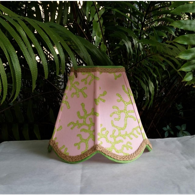 White Lampshade Pink Green Tropical Lilly Pulitzer Fabric For Sale - Image 8 of 11