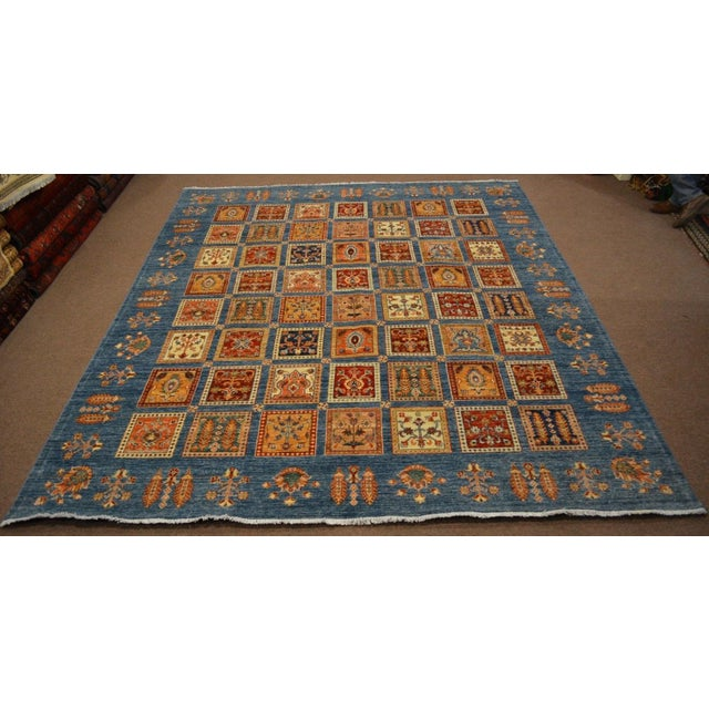 Blue Hand Knotted Persian Bakhtiari Wool Rug - 8′5″ × 9′9″ For Sale - Image 8 of 8