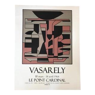 1960s Vintage Victor Vasarely Le Point Cardinal Original Serigraph Poster For Sale