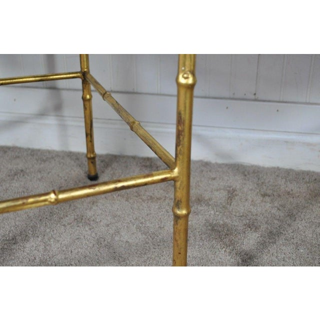 Pair Vintage Italian Hollywood Regency Faux Bamboo Gold Gilt Mirror Side Tables For Sale - Image 12 of 12