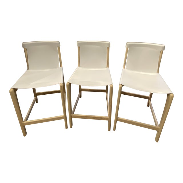 Burano White Leather Sling Counter Stools- Set 3 For Sale