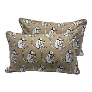 French Whimsical Monkey Pillows - a Pair For Sale