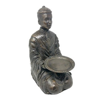 Vintage Bronze Chinoiserie Sitting Figure With Bowl For Sale